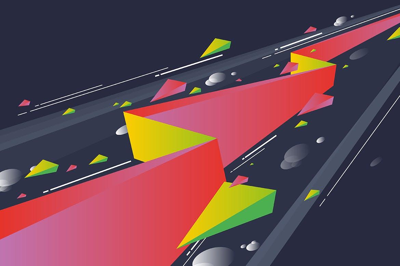 多彩抽象几何闪电矢量背景素材 Geometric Lightning Backgrounds插图(4)
