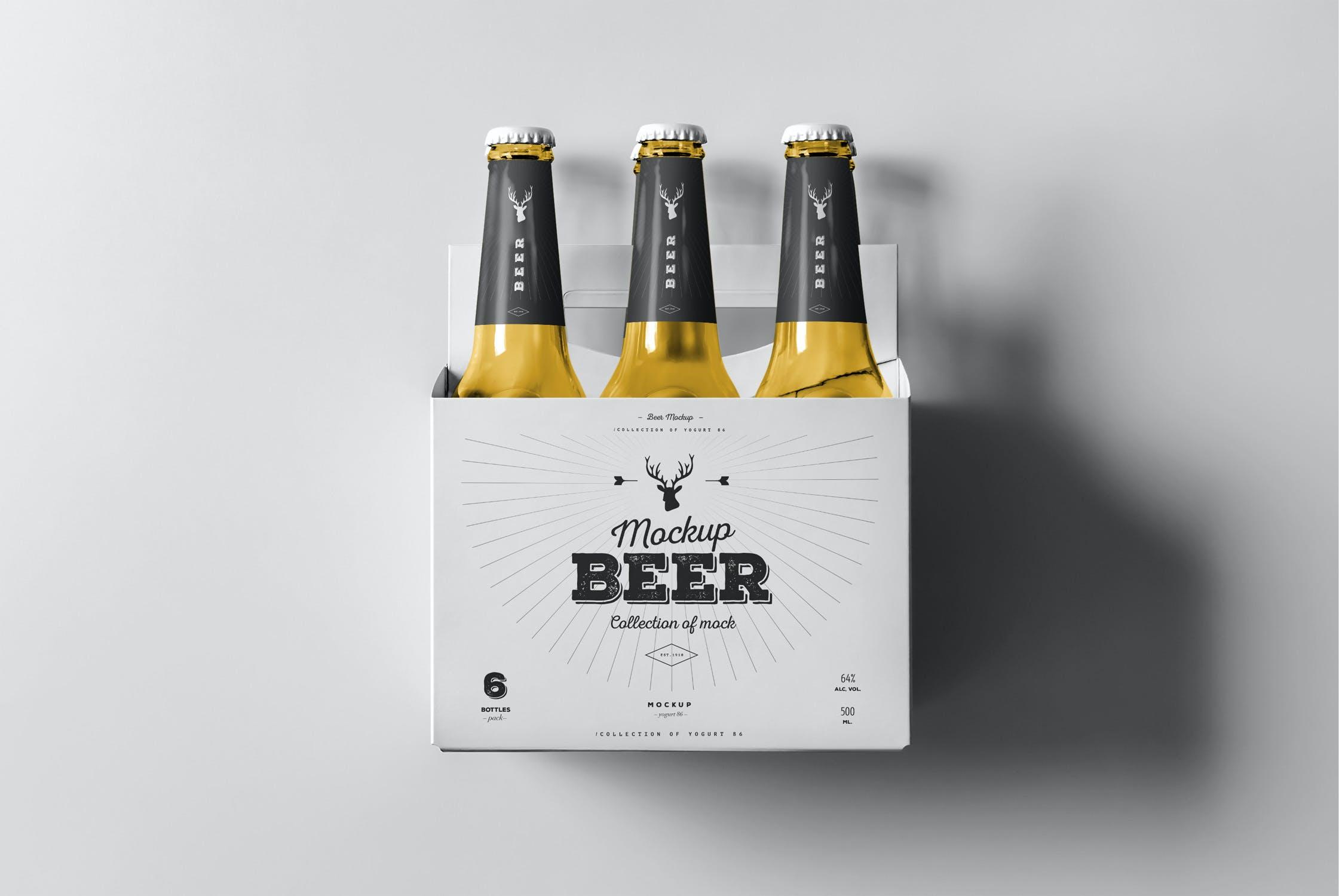 7款啤酒玻璃瓶标签设计展示样机模板 Beer Mockup 5插图(4)