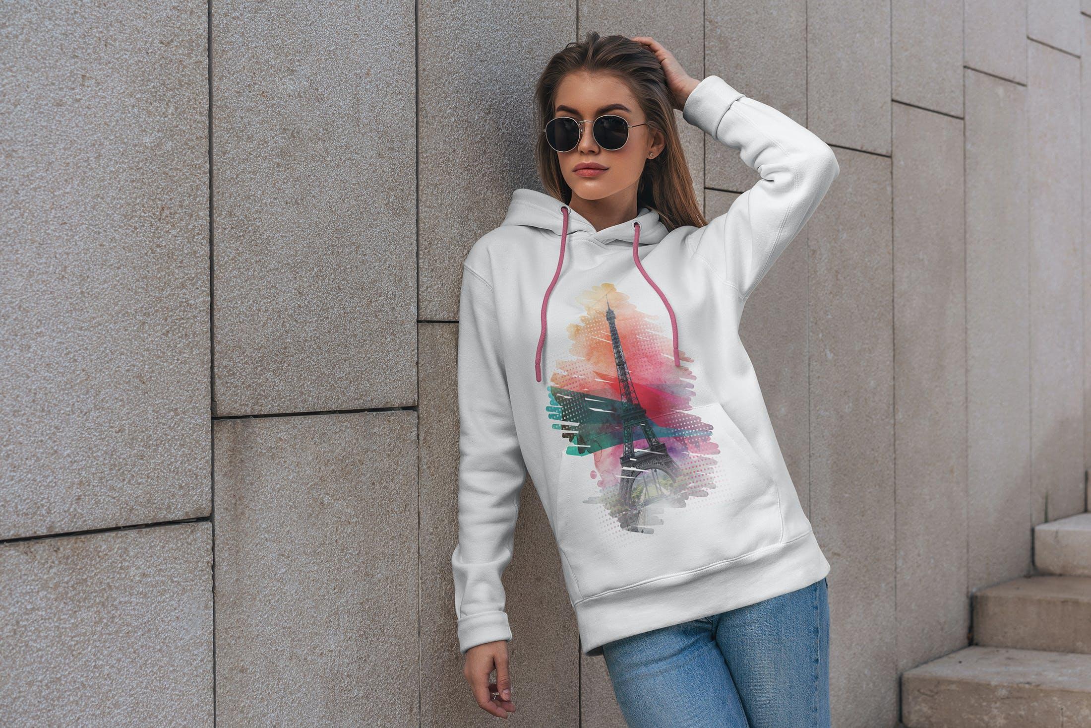 15款女孩连衣帽卫衣印花设计展示样机 Hoodie Mockup Street Fashion插图(4)