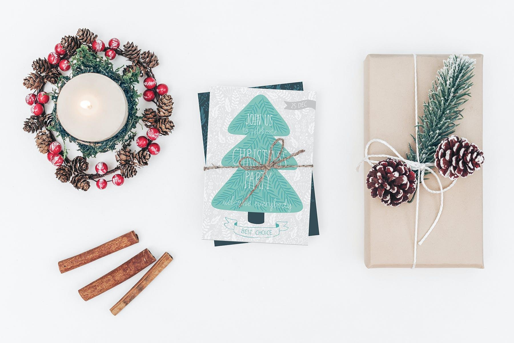 9款圣诞节贺卡邀请函设计展示样机合集 Christmas Mockup Collection Vol.2插图(4)