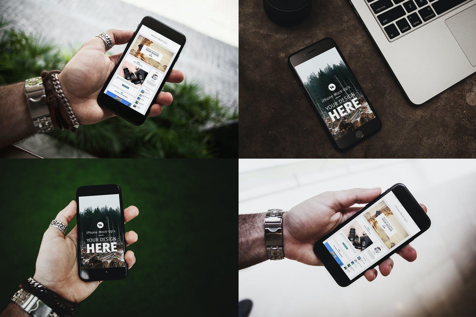 14款APP应用界面设计iPhone 7屏幕演示样机模板 iPhone 7 Urban Edition插图(4)