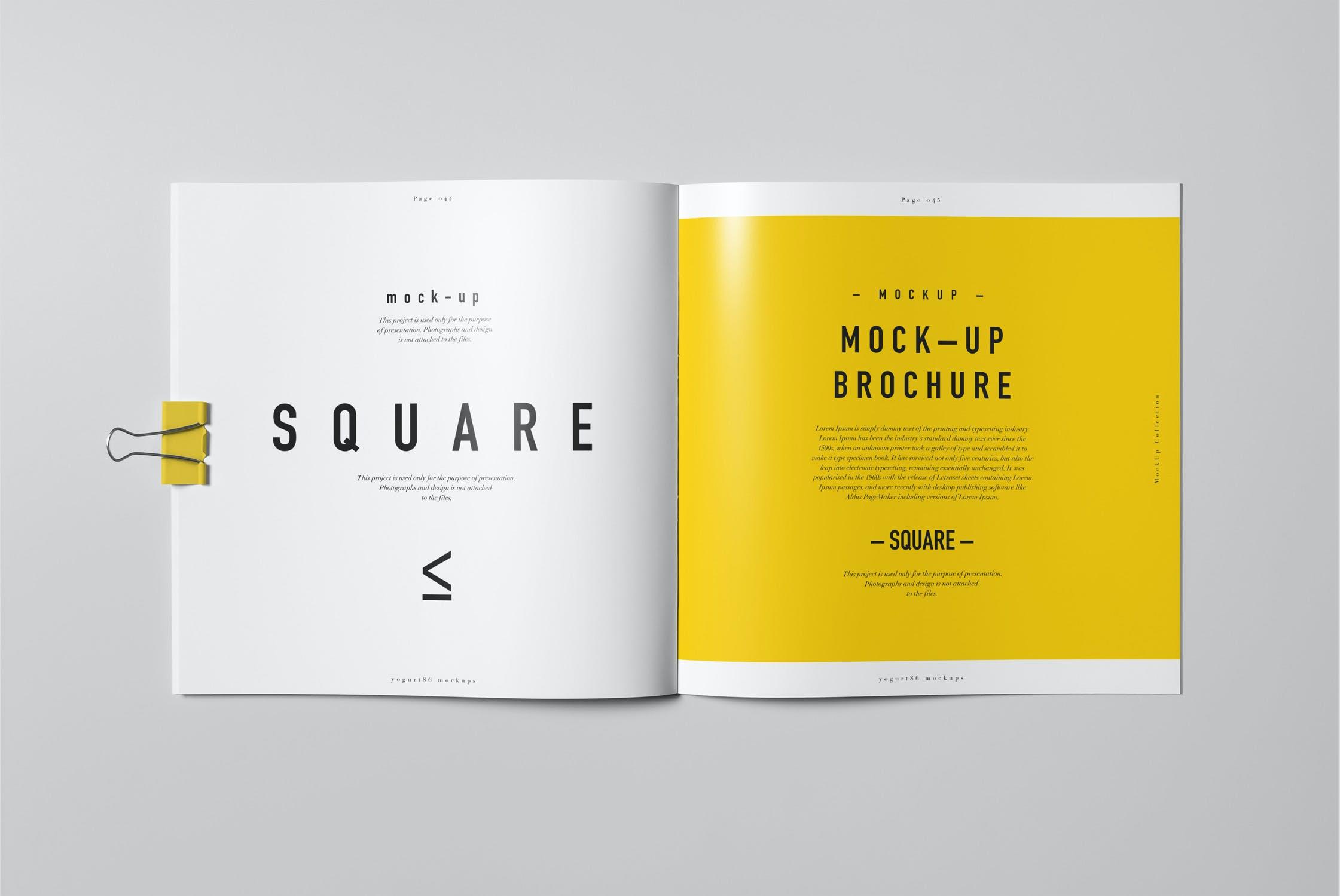 8款方形杂志画册设计展示样机模板 Square Brochure Mockup插图(4)