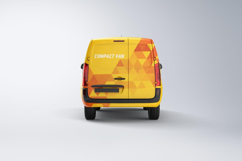 10款紧凑型面包车封闭货车车身广告设计展示样机 Compact Van Mockup插图(4)