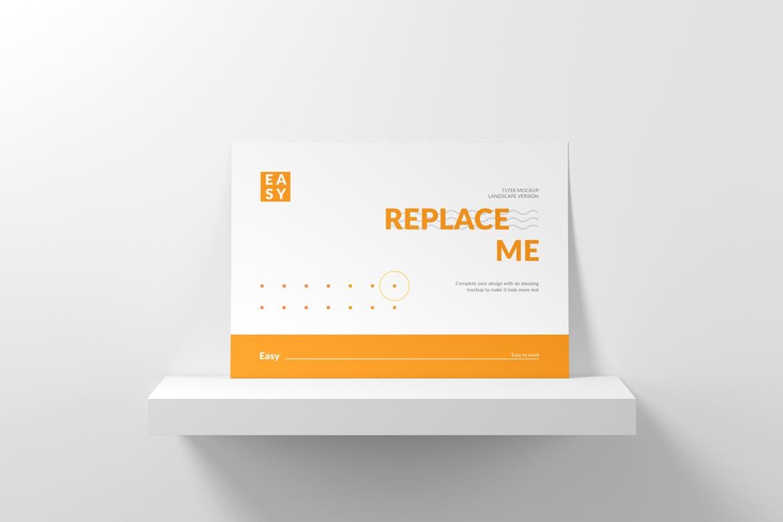 横版传单海报设计展示样机模板 Landscape Flyer Mockup插图(4)
