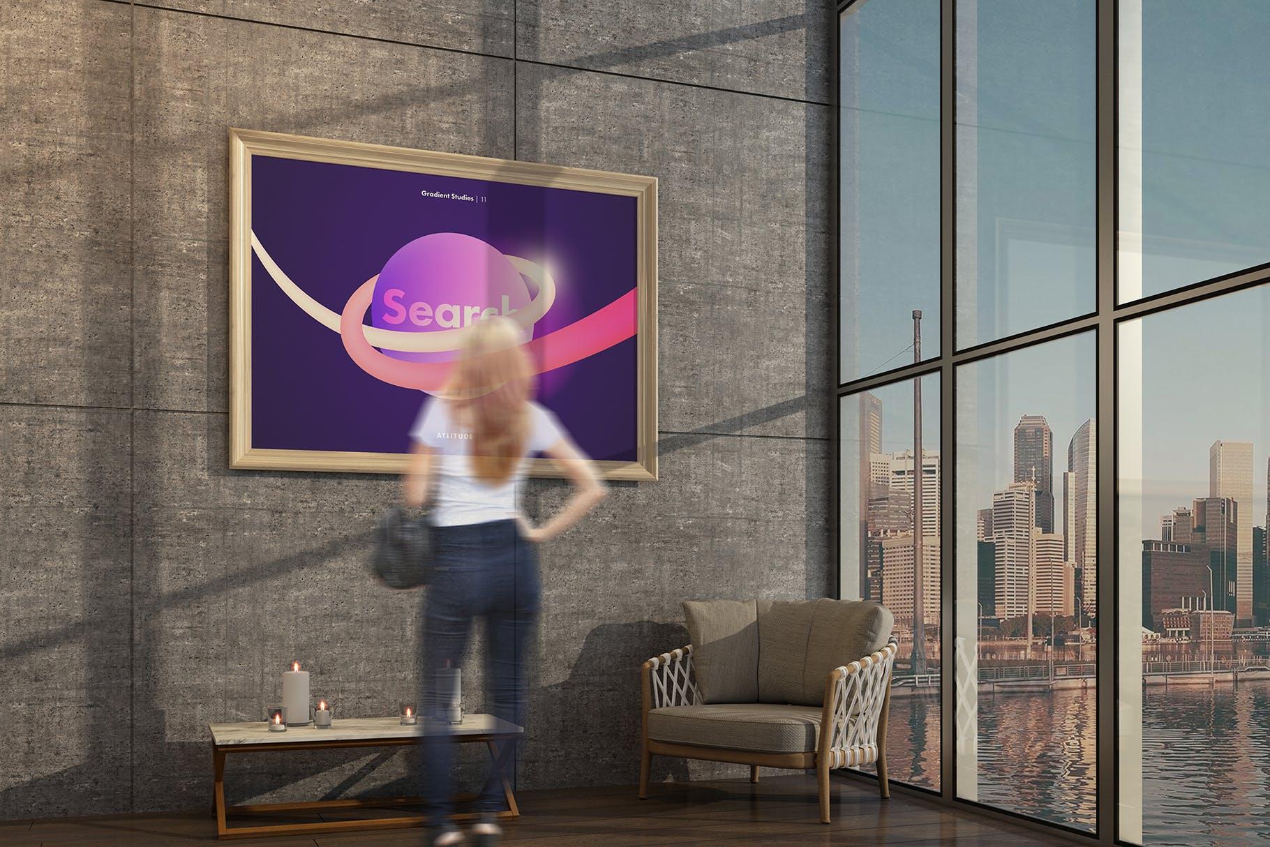 室内走廊相片艺术品海报样机模板 Gallery Mockup 3插图(4)