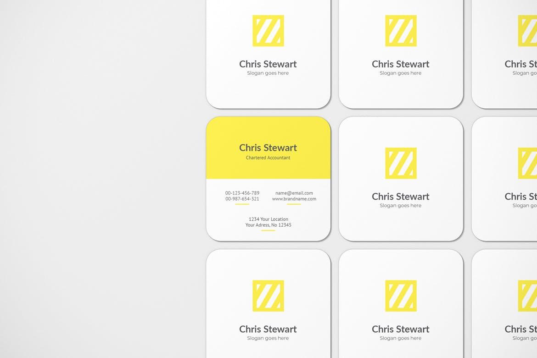 圆角方形商务名片卡片设计智能贴图样机模板 Rounded Square Business Card Mockup插图(4)