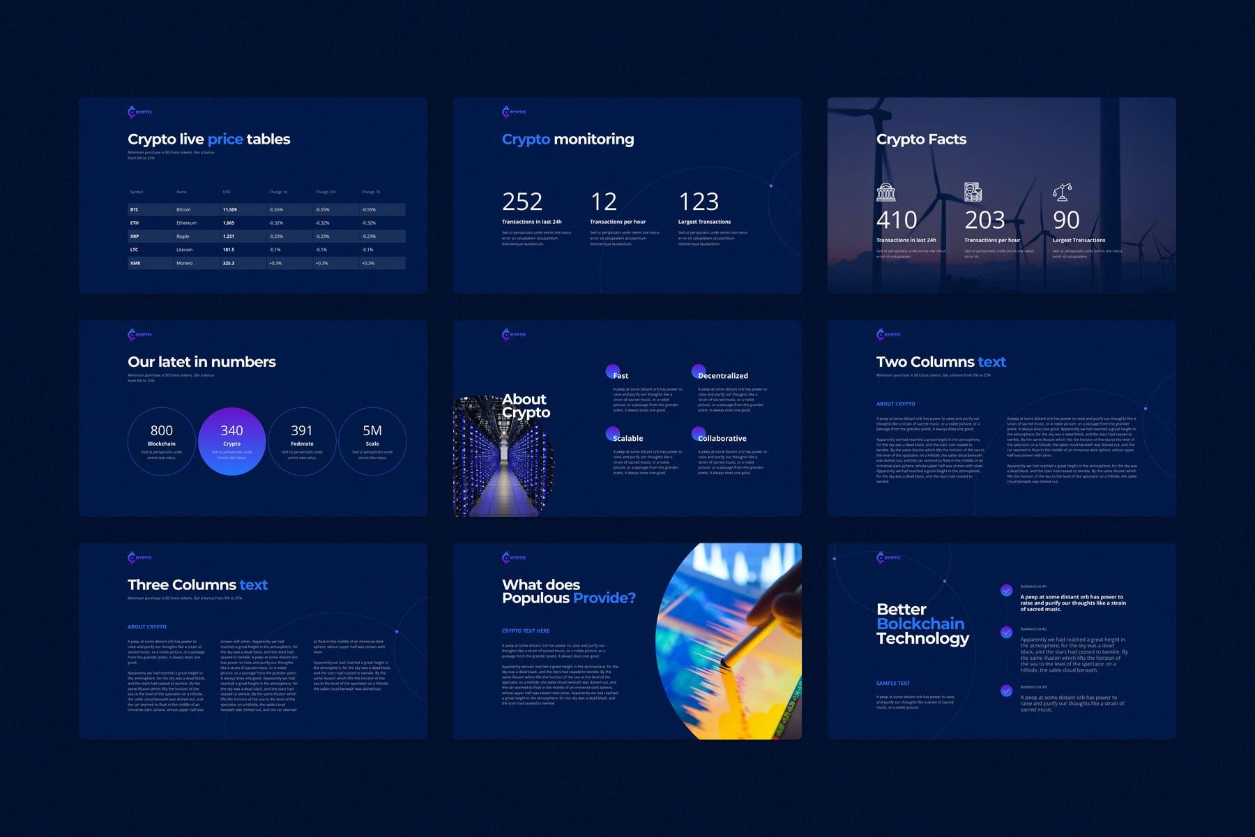 行业研究公司业务介绍图表设计幻灯片模板 CRYPTO Powerpoint Template插图(4)