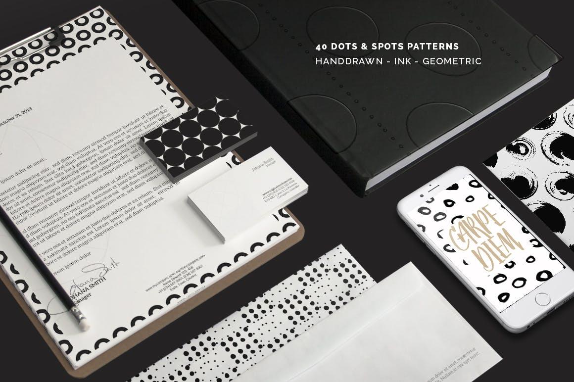 40款点状无缝隙矢量图案背景素材 Dots & Spots Seamless Patterns插图(4)