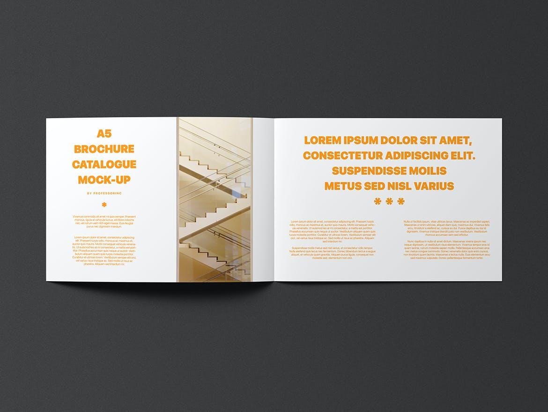 A5横版画册杂志设计展示样机模板 A5 Landscape Catalogue Brochure Mockup插图(4)