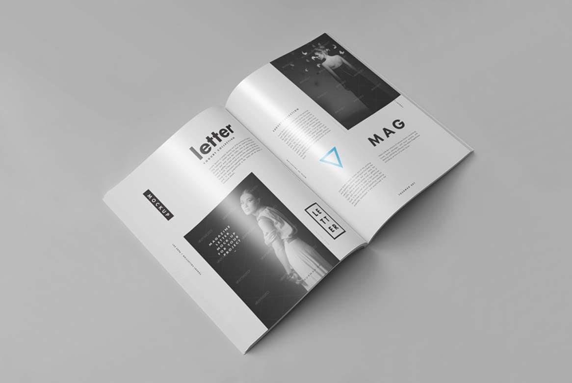 9款杂志画册目录设计展示样机模板 US Letter Magazine Mockup 2插图(4)