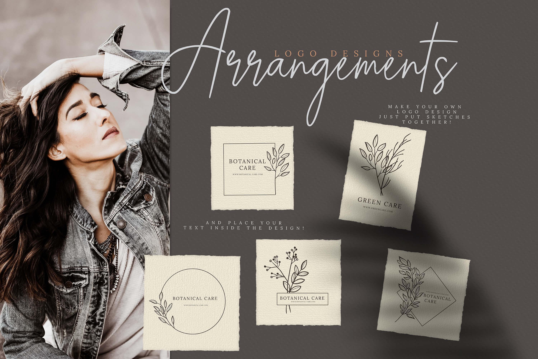 27款手绘植物标志元素设计矢量素材 Hand Drawn Botanical Logo Elements插图(4)