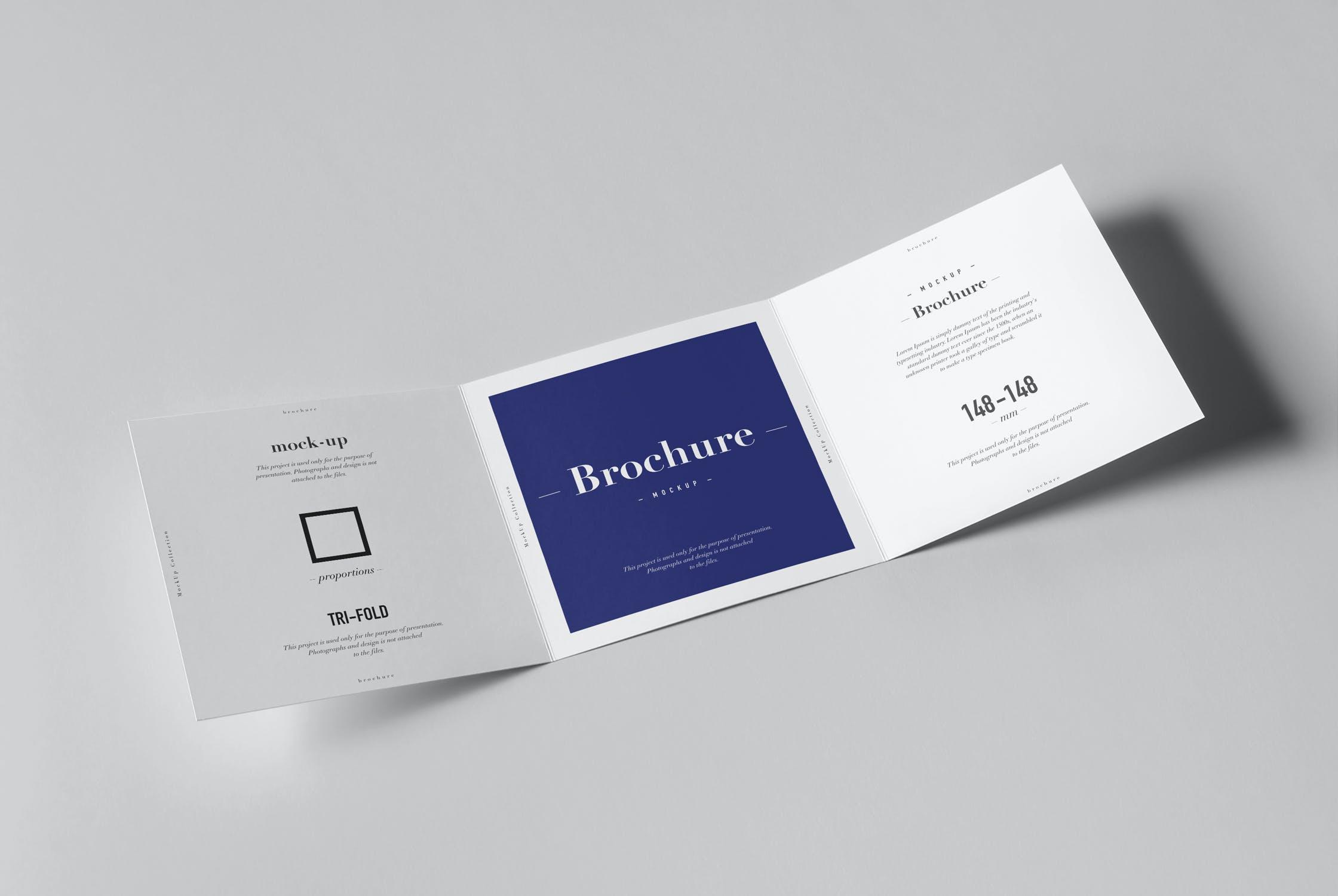 8款三折页小册子设计展示样机模板 Tri-Fold Square Brochure Mockup插图(4)