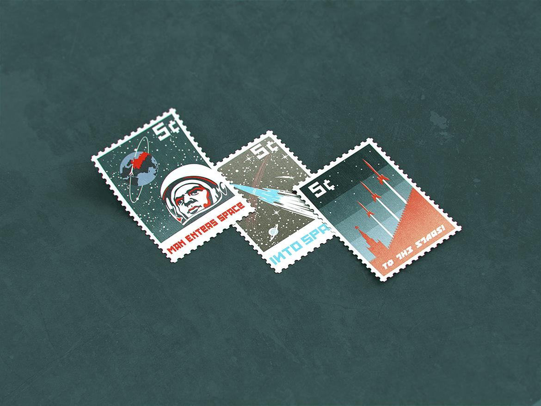10款复古邮票文创设计展示样机模板 Postage Stamp MockUp v1插图(4)