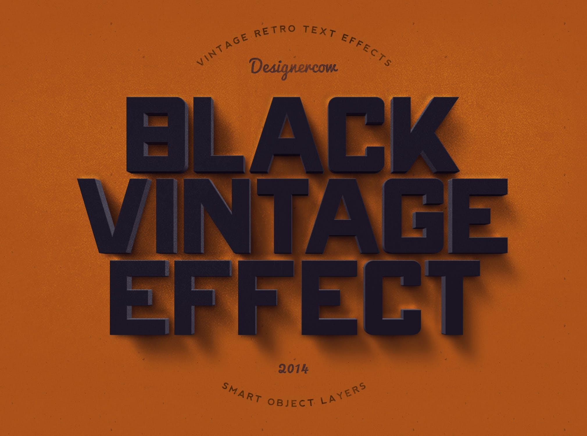 14款老式复古3D立体效果徽标标题字体设计PS样式模板 14 Vintage Retro Text Effects插图(4)