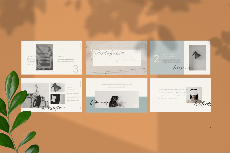 轻柔摄影作品集演示文稿设计模板 Elliette – Powerpoint插图(4)