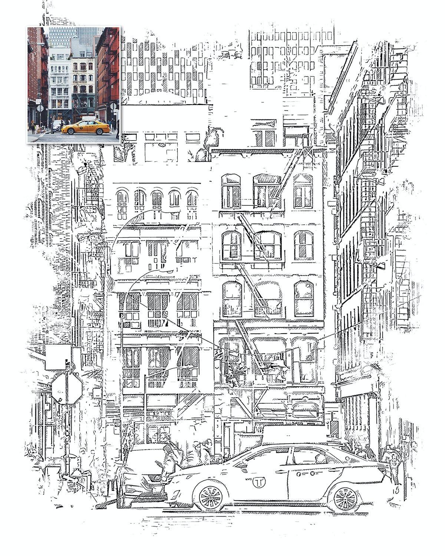 手绘水彩素描效果城市照片后期特效PS动作 Urban Sketch Photoshop Action插图(4)