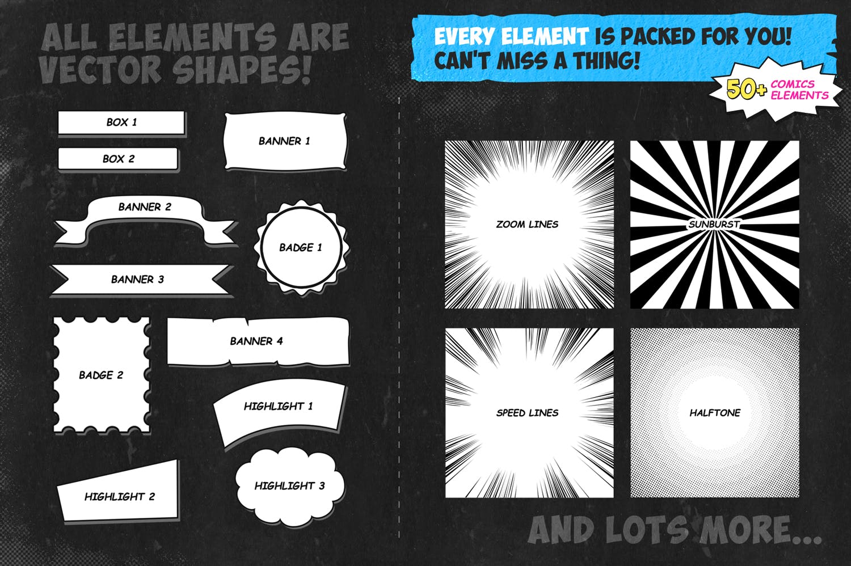 逼真复古手绘漫画效果照片后期处理特效PS动作 Retro Comic Book Photoshop Action Kit插图(4)