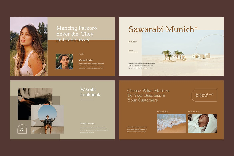 时尚服装造型设计作品集幻灯片模板 WARABI – Fashion Lookbook PowerPoint Template插图(4)