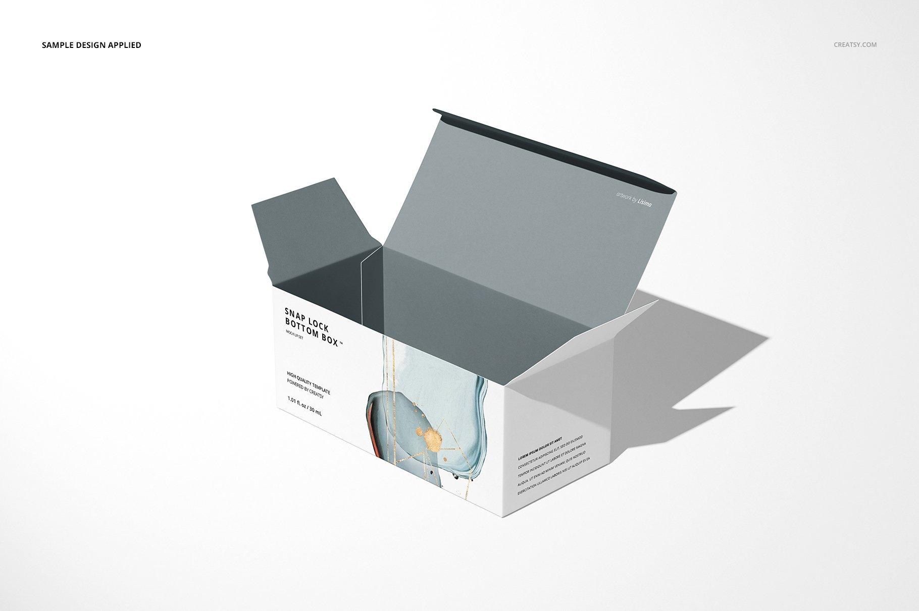长矩形产品包装卡扣锁底纸盒样机集 Snap Lock Bottom Box Mockup Set插图(4)