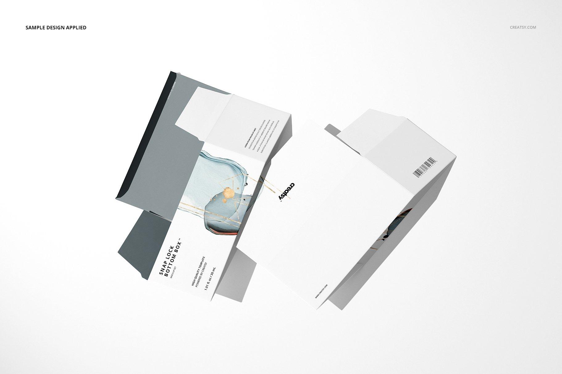 长矩形产品包装卡扣锁底纸盒样机集 Snap Lock Bottom Box Mockup Set插图(5)