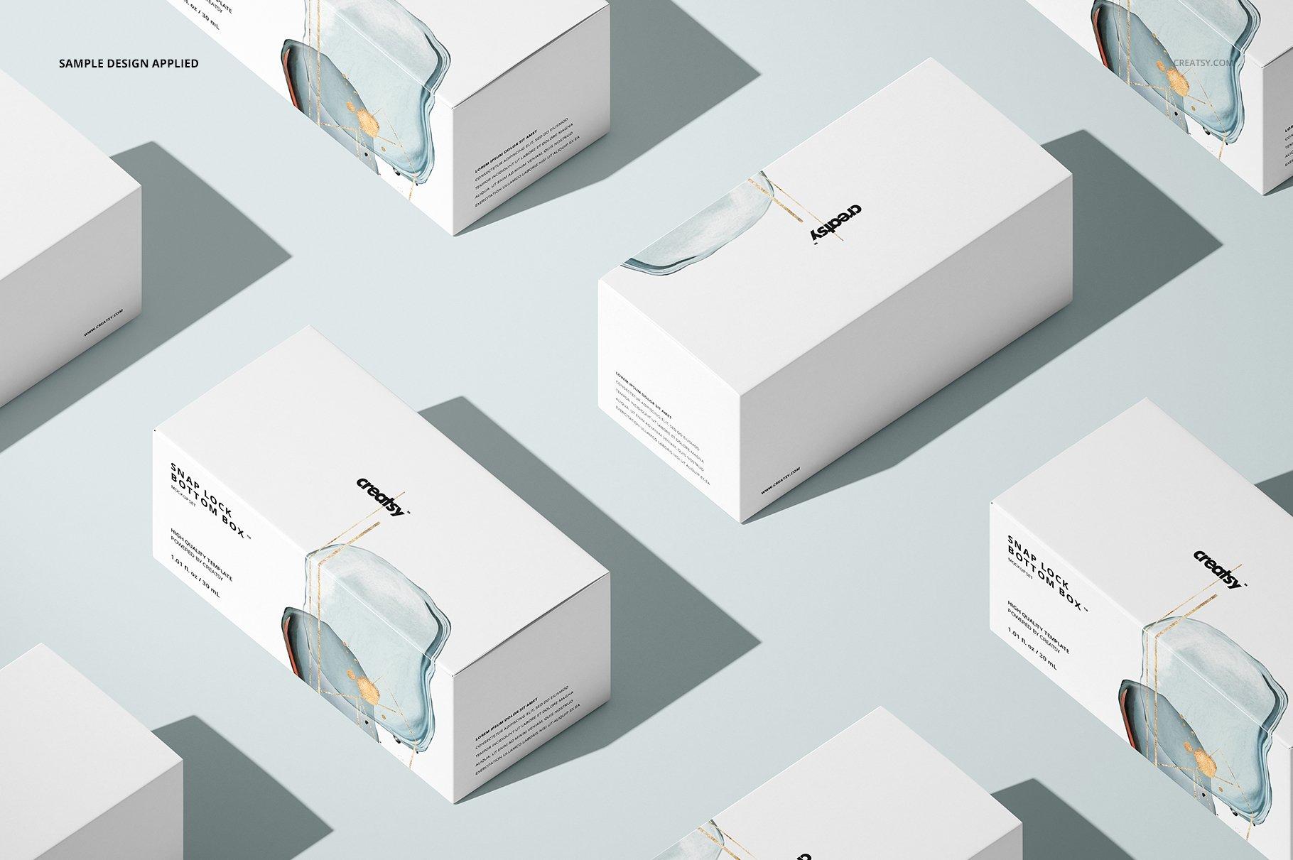 长矩形产品包装卡扣锁底纸盒样机集 Snap Lock Bottom Box Mockup Set插图(7)