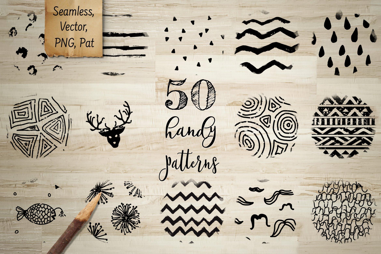 50款黑色涂鸦无缝隙纹理矢量素材 50 Black Handy Patterns插图