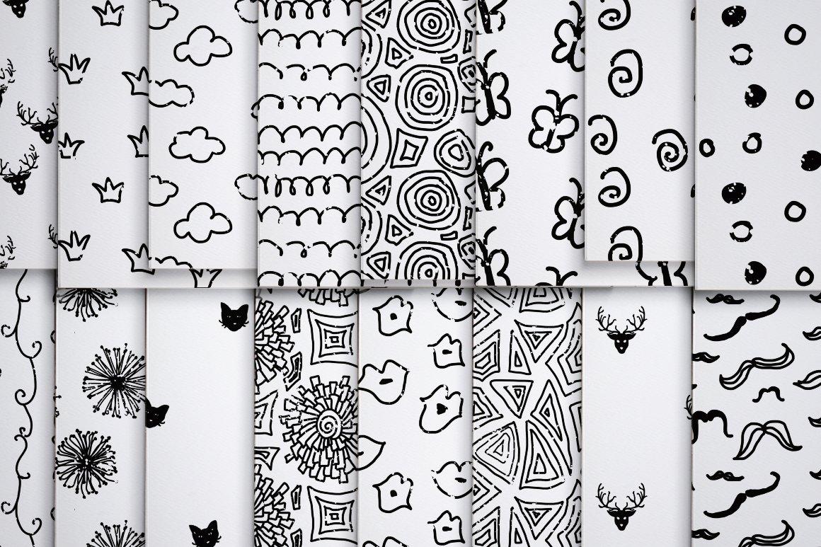 50款黑色涂鸦无缝隙纹理矢量素材 50 Black Handy Patterns插图(1)
