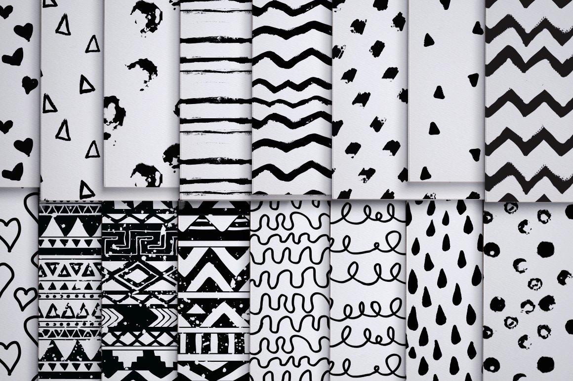 50款黑色涂鸦无缝隙纹理矢量素材 50 Black Handy Patterns插图(2)