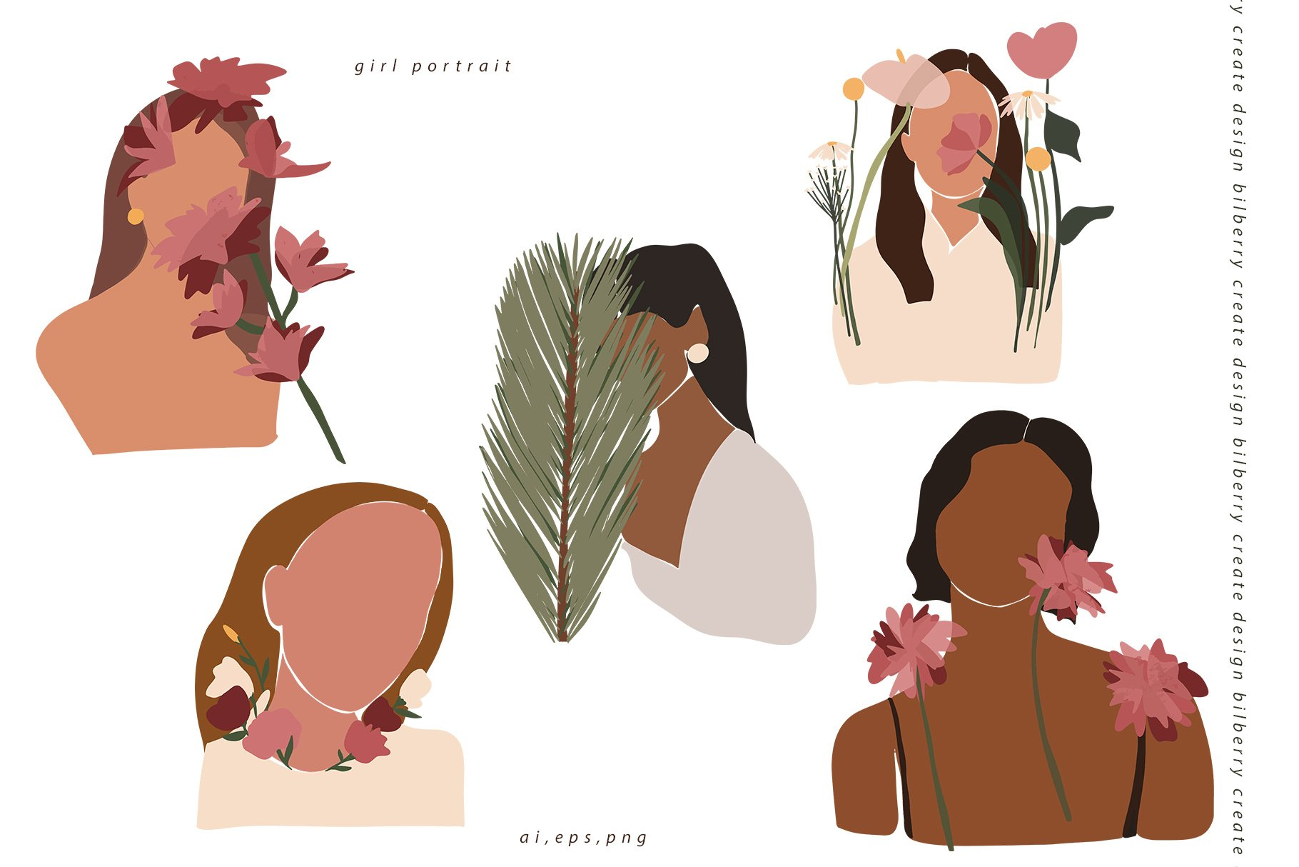 85多个抽象女孩风景形状矢量图案素材 Child Of Flowers Abstract Portrait插图(5)