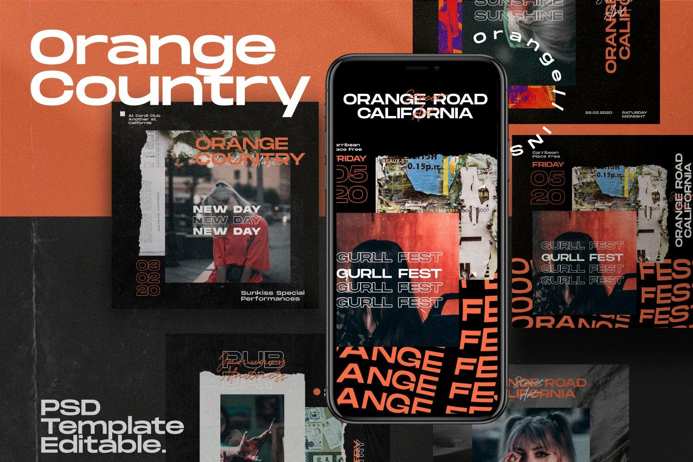 现代潮流撕纸效果品牌推广新媒体海报设计模板 Orange Country – Social Media Pack插图(5)