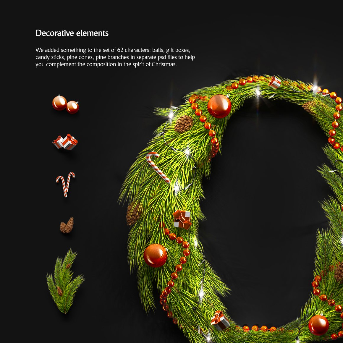 62款圣诞节主题字母数字设计动态展示PSD样机模板 Christmas Animated Typeface插图(3)