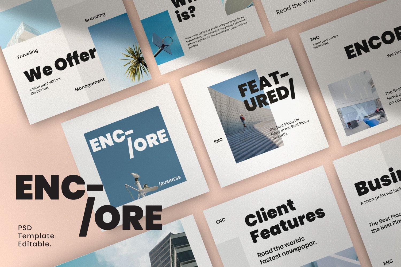 时尚简约城市摄影推广社交新媒体设计模板 ENCORE – Minimal Business Instagram插图(5)