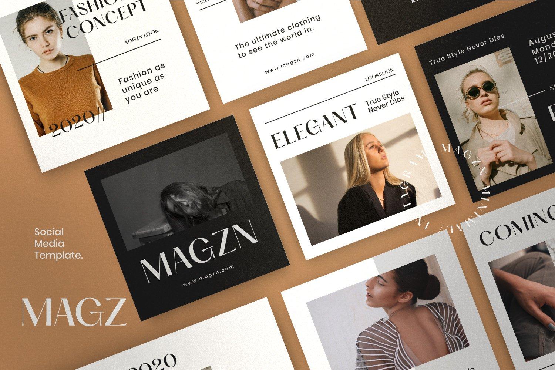 时尚服装品牌摄影推广新媒体海报设计PSD模板 MAGZ – Fashion Brand Social Media插图(5)