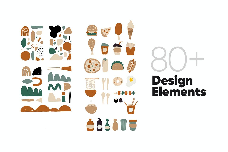 80多个抽象手绘食物包装印花矢量图案素材 Food Abstract Backgrounds & Patterns插图(5)