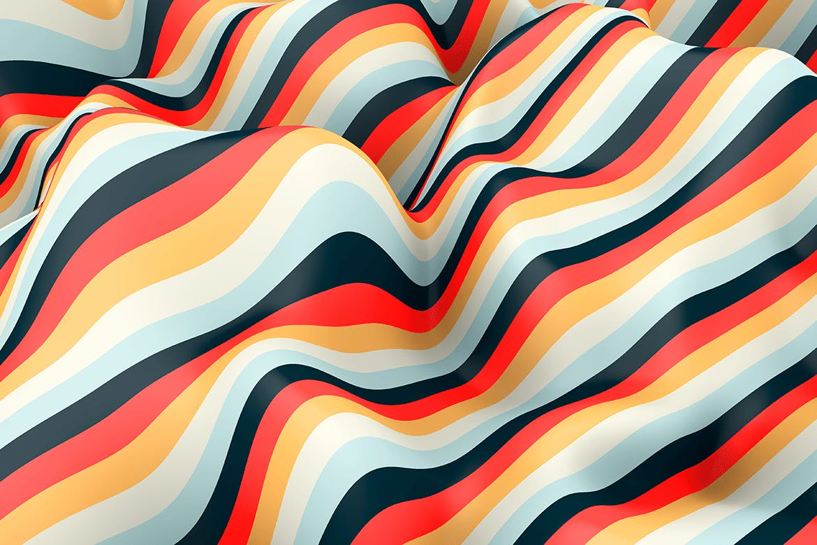 10款高清抽象多彩3D条纹波背景PNG图片素材 Multi-colored Striped Waves Backgrounds插图(5)
