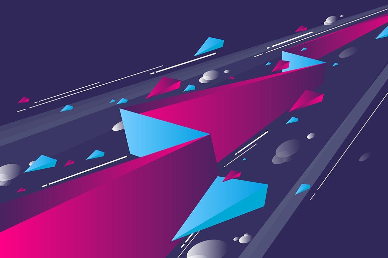 多彩抽象几何闪电矢量背景素材 Geometric Lightning Backgrounds插图(5)