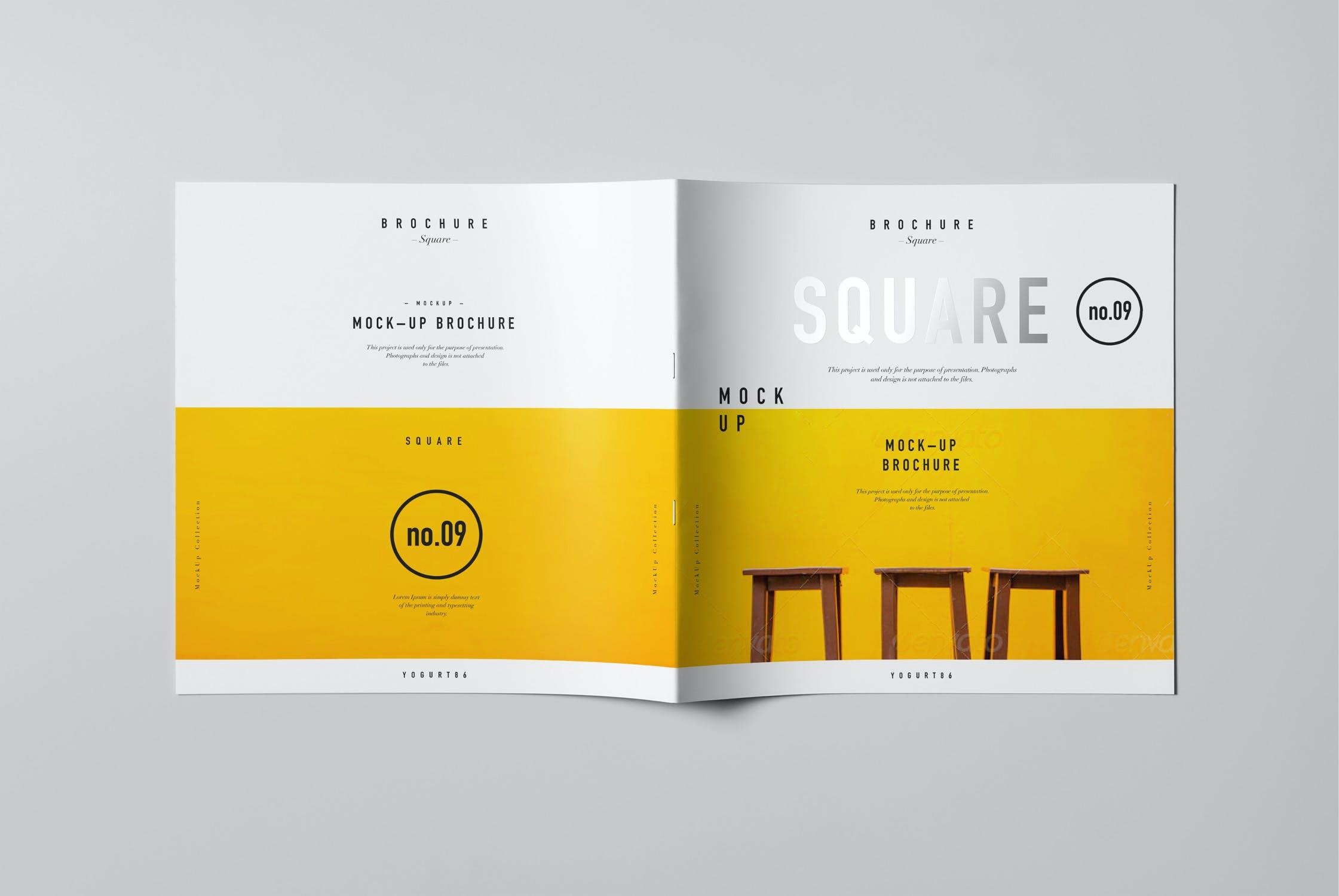 8款方形杂志画册设计展示样机模板 Square Brochure Mockup插图(5)