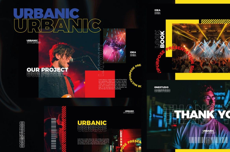 潮流服装摄影作品集PPT幻灯片设计模板 Urbanic Powerpoint Templates插图(4)