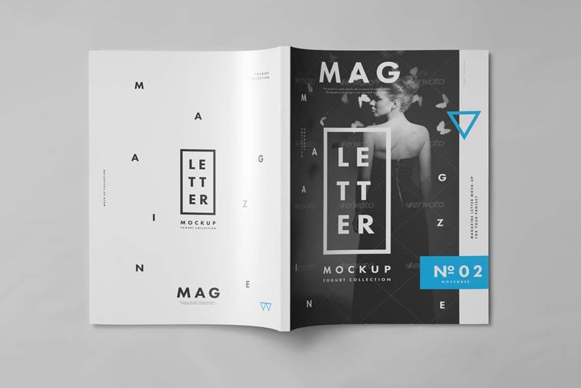 9款杂志画册目录设计展示样机模板 US Letter Magazine Mockup 2插图(5)