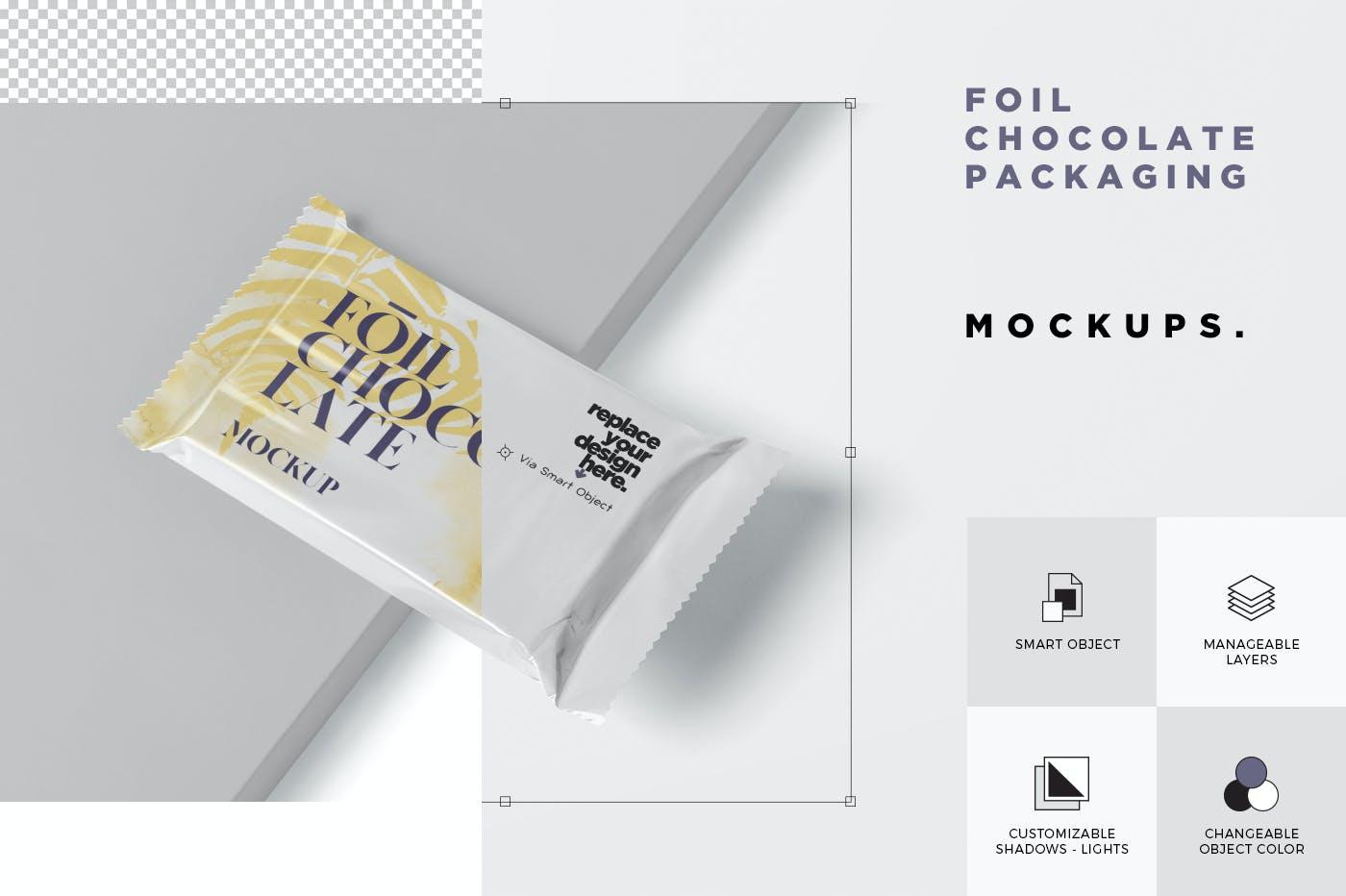 精美铝箔巧克力包装袋设计展示样机 Foil Chocolate Packaging Mockup – Slim Size插图(5)