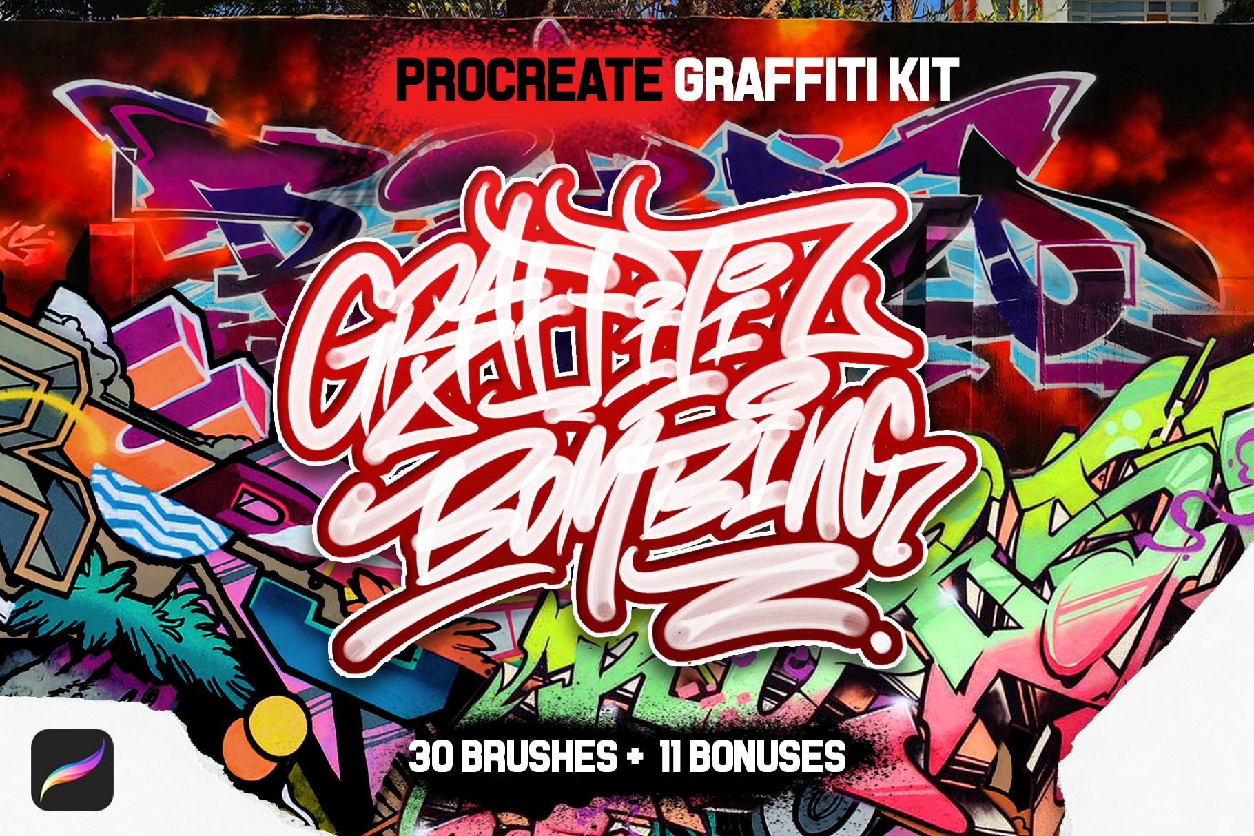 31款涂鸦效果Procreate笔刷下载 Graffiti Bombing Procreate Brush Kit插图