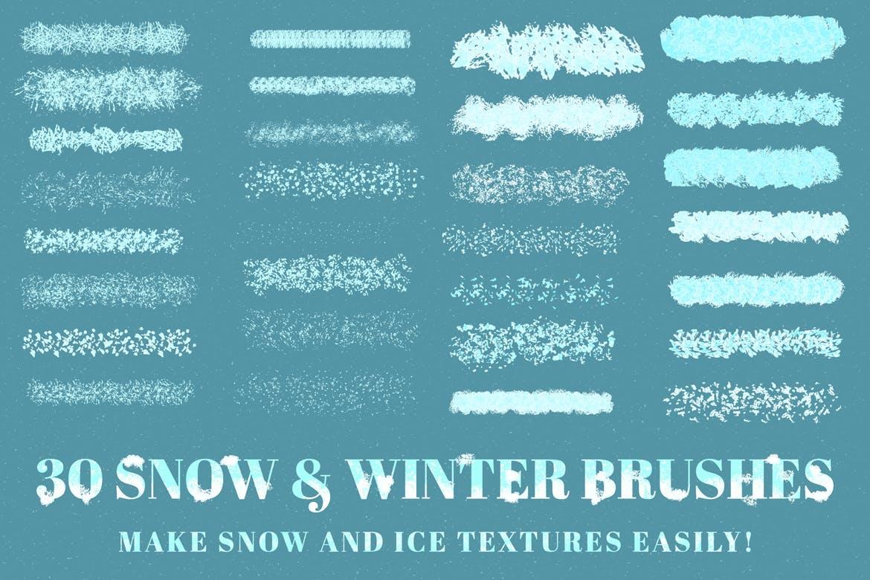 30个冬季雪花AI矢量笔刷素材 Snow And Winter Brushes For Adobe Illustrator插图(5)