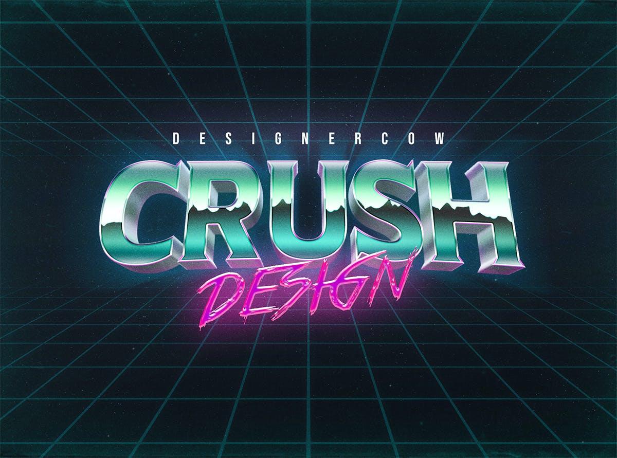 80年代复古3D立体海报标题徽标字体设计PS样式模板 80s Text Effect V3插图(7)