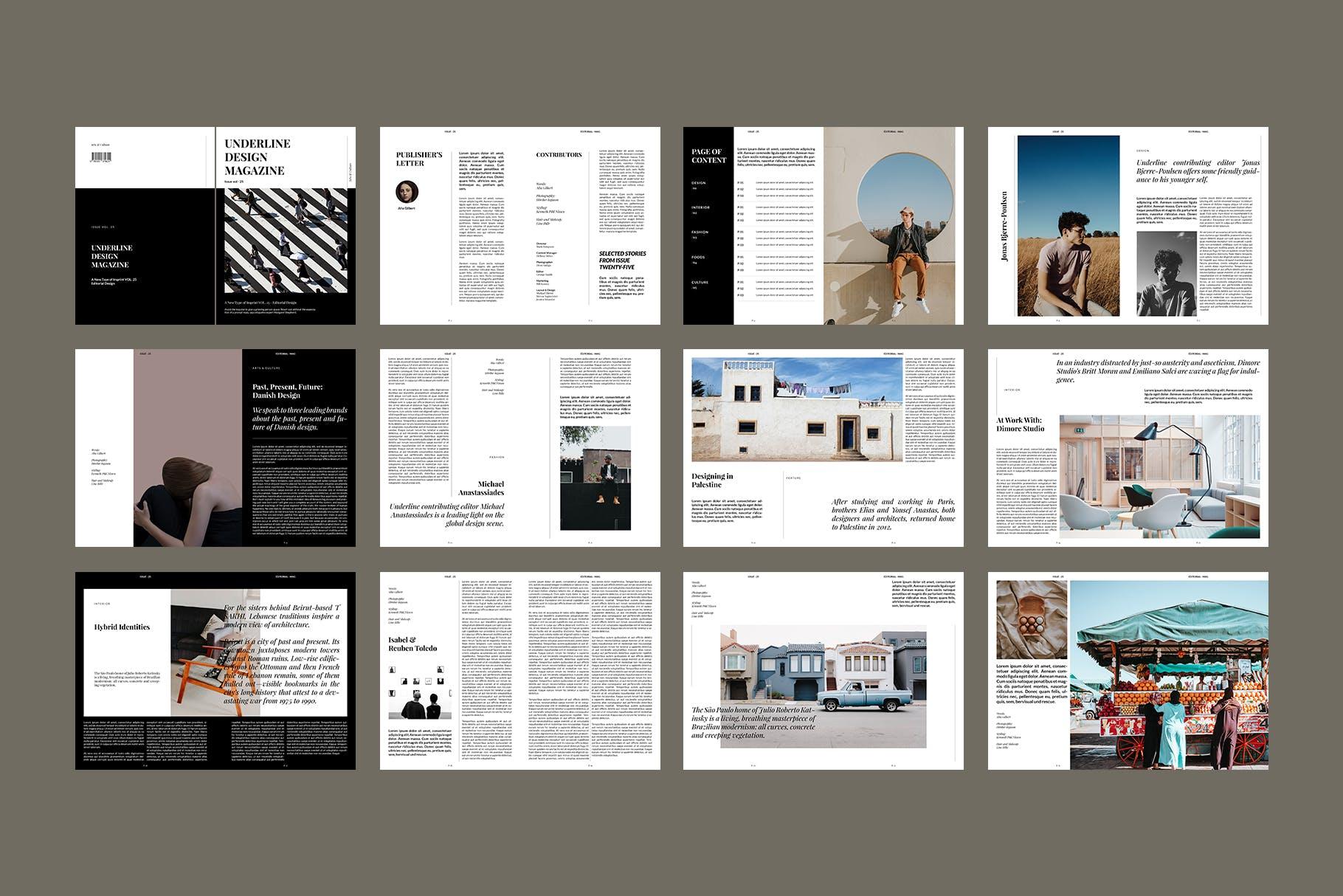 现代时尚摄影作品集设计画册INDD模板 Magazine Template插图(5)