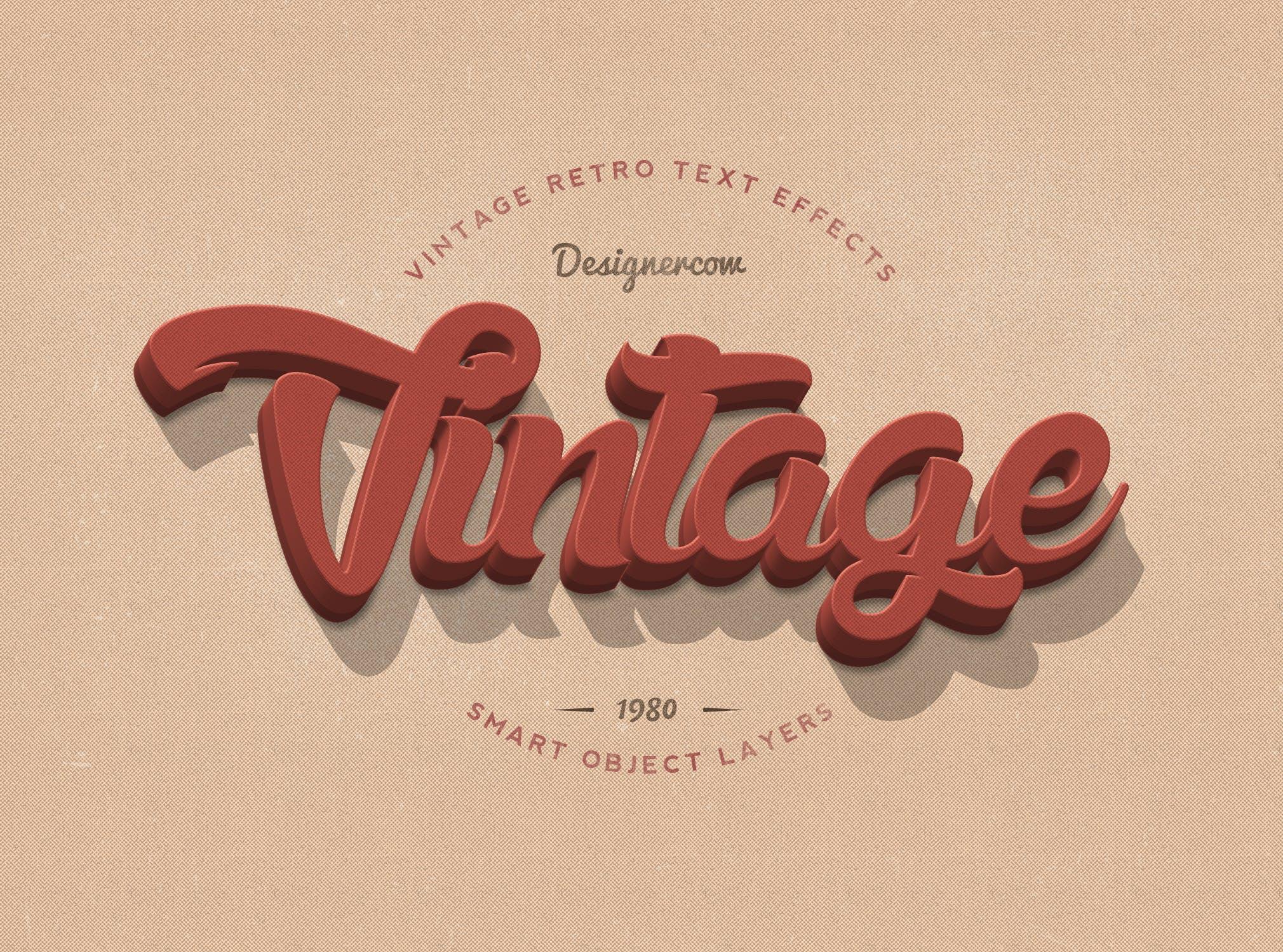 14款老式复古3D立体效果徽标标题字体设计PS样式模板 14 Vintage Retro Text Effects插图(5)