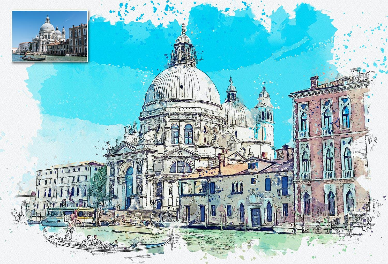 手绘水彩素描效果城市照片后期特效PS动作 Urban Sketch Photoshop Action插图(5)