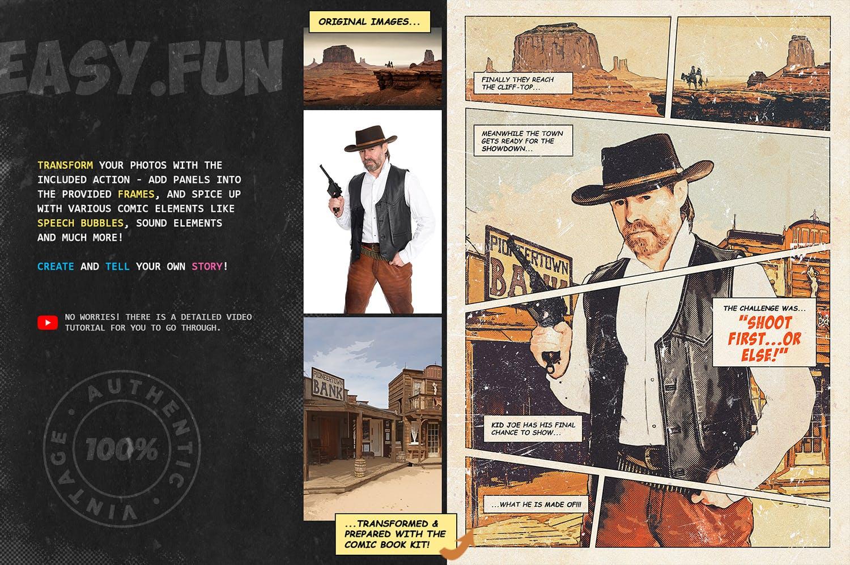 逼真复古手绘漫画效果照片后期处理特效PS动作 Retro Comic Book Photoshop Action Kit插图(5)