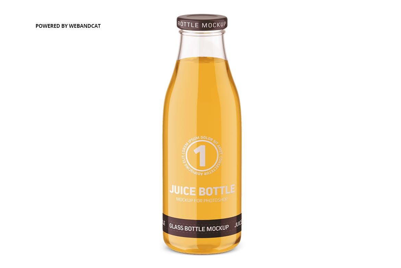 果汁牛奶玻璃瓶设计展示样机 Juice / Glass Bottle Mockup插图(5)