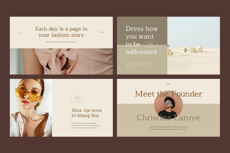 时尚服装造型设计作品集幻灯片模板 WARABI – Fashion Lookbook PowerPoint Template插图(5)