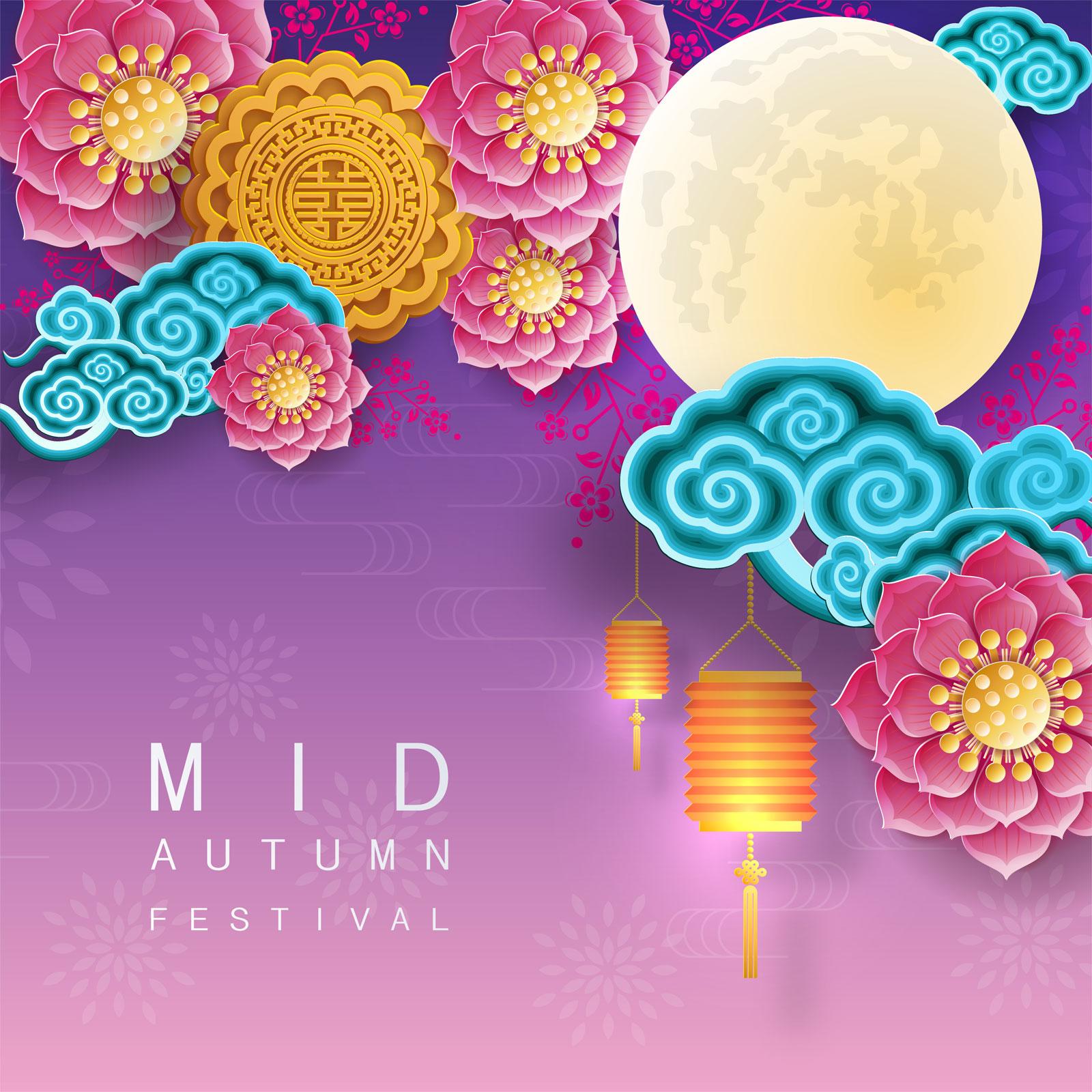 38款中国风中秋节主视觉海报插画AI广告设计素材源文件 Mid Autumn Festival Vector Pattern插图(26)